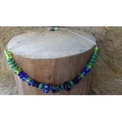 Collier viking bleu et vert
