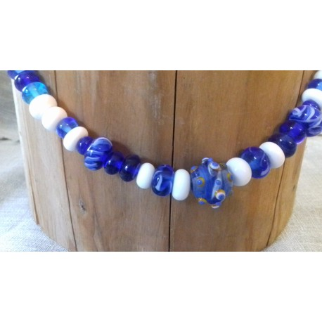 Collier viking bleu et blanc