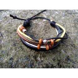 Bracelet cuir et chanvre