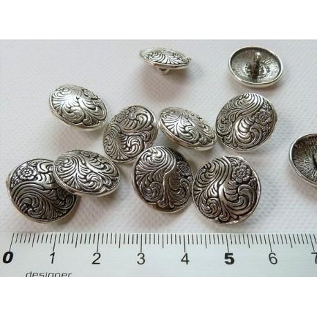 Bouton métal fleurs