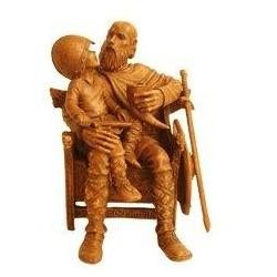 Viking assis avec enfant